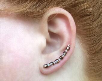 Ear Sweeps, Ear Sweep Earrings, Ear Sweep Wraps, Ear Cuff. Ear Sweep, Dainty Earrings, Ear Climber Earrings, Crystal Ear Climber