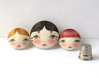 Face buttons, Covered Buttons, Unusual Sewing Butttons, Sewing Notions, Doll Buttons, Textile Buttons, Scrapbooking Supplies