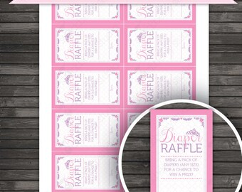 Princess Baby Shower Diaper Raffle Tickets Printable - Pink and Purple Baby Shower Diaper Raffle Card - Instant Download - Royal Baby Shower