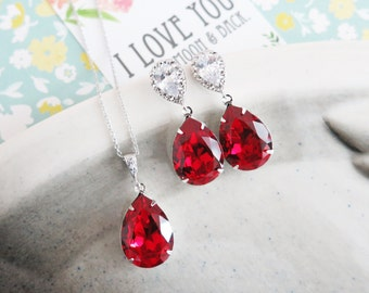 Sandra- Siam Red Swarovski Crystal Teardrop Cubic Zirconia Teardrop Earrings Necklace Set, Bridesmaid Earrings Bridal Jewelry Wedding