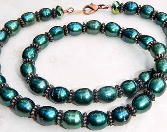 Freshwater Pearl Necklace & Earrings of Emerald Green and Copper