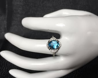 """Natural Blue Topaz ring """"Love Story""""-gift for mother's day valentine's day birthday graduation wedding and engagement"""