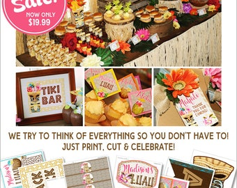 Luau Party | Pool Party | Hawaiian Decorations | Luau Printables | Luau Birthday | Tropical | Amanda's Parties To Go