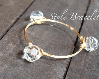 Wire Wrapped Bangle Bracelet   Clear Faceted Glass Bead Wire Wrapped Bracelet   Bourbon and Boweties Inspired