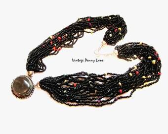 Tribal Necklace, Glass Beads, Green Gemstone