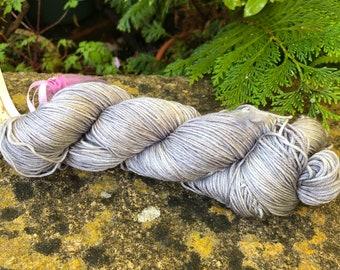 """100grms hand painted merino/silk yarn """" grey skys """""""