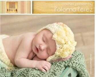 INSTANT DOWNLOAD - Crochet Baby Hat  Pattern - Flapper/bow shely hat crochet pattern - Baby hat crochet pattern