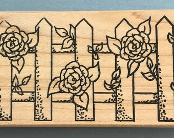 New Rose Flower Fence Border Wood Mounted Rubber Stamp Parked on Rubber
