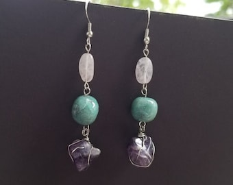 Natural stone earrings - Amethyst - Chrysocolla - Rose quartz  - Beaded earrings - Pink, blue and purple dangle earrings - Beaded jewelry
