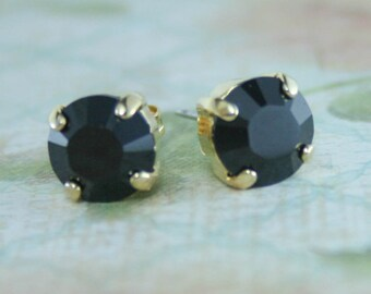 black crystal stud earrings,jet black crystal stud earrings,black crystal earrings,jet black crystal earrings,black earrings,jet black stud
