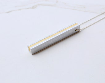 Minimalist Necklace Contemporary Jewelry Anniversary Necklace Aluminum Brass Architectural Linear Column Necklace