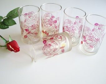 Vintage Juice Glasses, 8 oz, Rose, Frosted Glass, Art Nouveau Style, Set of 5, Red Juice Glass, Vintage Kitchen, Unique, Red Kitchen