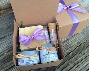 Expecting Mom Gift, Birthday Gift for 1st Time Mom, Pregnancy Set Soap, Organic Belly Butter, Lavender Foot Scrub, Bath Salt  and Lip Balm