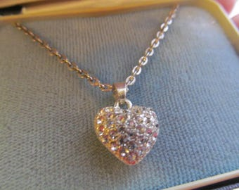 Rhinestone Heart Filigree Necklace Silver Tone Puffy Heart