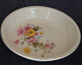 """eb1776 Pie Plate VINTAGE Floral 22 Kt Gold Trim Made in America 1940s 9.5"""" EXCELLENT Condition eb1776"""
