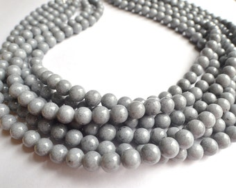 Michelle - Gray Jade Bridesmaid Multi Strand Statement Necklace
