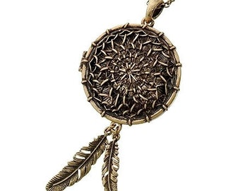 Dream Catcher Necklace, Symbolic Southwest Jewelry, Minimalist, Necklace Set, Long Dreamcatcher Locket, Native, Southwest Jewelry, Cowgirl