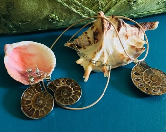 Ammonite Fossil Necklace & Earrings Set