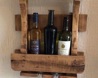 Wooden wall hanging Wine rack, rustic wine caddy, Wall hanging wine caddy, Wall wine display, Wine display, Wine rack, Wood wine rack, Wine