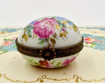 Vintage LIMOGES TRINKET BOX Tiny Floral Egg Limoges France Porcelain Paint Main Trinket Box