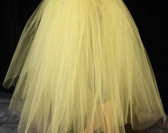 Adult tutu tulle skirt long yellow puffy petticoat two layer dance formal wedding bridal bridesmaid prom - All Sizes - Sisters of the Moon