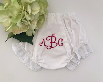 Monogrammed Bloomers / Baby Bloomers / Diaper Cover with Monogram