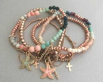 Seashell Rose Gold Bracelets, Seaside Rose Gold Bracelet 5 Stack, Rose Gold Jewelry, Gifts for Her, Summer Jewelry