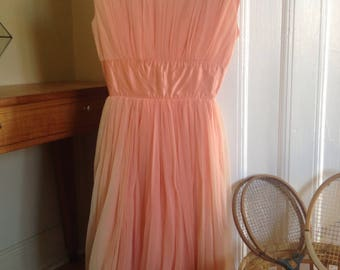 50s peach poly tulle ,taffeta bubble dress with bows