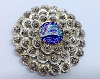 Antique Persian cannetille silver enamel brooch