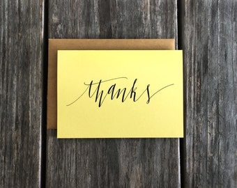 Hand Lettered Thank You Card Set, Thank You Note Card Set, Bulk Script Thank You Cards