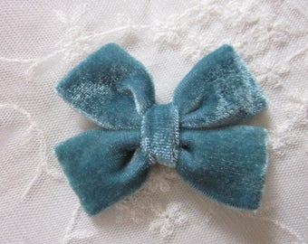 3.5 inch Teal VELVET Ribbon Bow Applique Bridal Baby Hair Accessory Pin