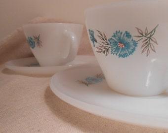 "FIRE KING ""Bonnie Blue"" Cornflower Set of 2 Cups Saucers"