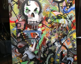 Original Abstract Painting by Jason Antonelli, Contemporary Art, Abstract Expressionism, Acrylic Paints, 16x20 inches, Skull