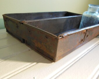 Vintage Double Bread Pan . Loaf Pan . Vintage Bakeware . Desktop Storage . Studio Storage . Farmhouse Kitchen . Country Decor