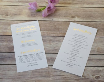 Gold Foil Wedding Program Handmade