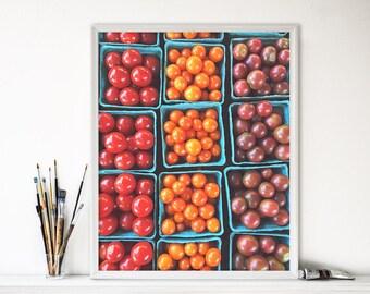 Cherry Tomato Photograph - Colorful Art Print - Food Photograph - Kitchen Wall Art - Kitchen Decor - Organic - Farmers Market Print - Summer