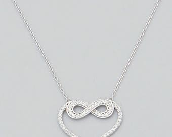 Dainty Delicate  Minimalist Sterling Silver Infinity Heart Cubic Zirconia Necklace