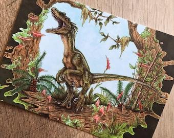 Raptor Call Dinosaur Art Print