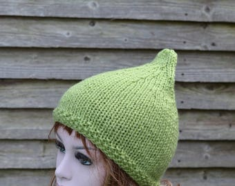 Meadow Green Womens Knitted Pixie Hat,  Chunky Knit Hat, Uk Hats, Fashion Hat, Accessory, Fall,