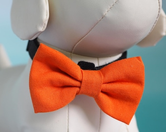 Orange Fall Dog Bow Tie, Halloween Autumn Colors Linen Bow Ties for Dogs Wedding Dress Up, Pet Collar Bowtie fits Small to Extra Large Pets