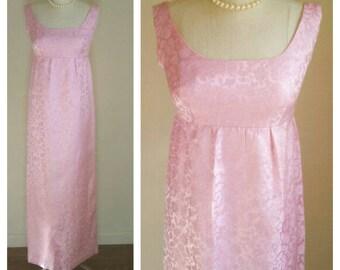 60s pink floral brocade dress / hostess evening dress / satin bow / 60s cocktail dress, long maxi dress, womens small / 30 inch empire waist