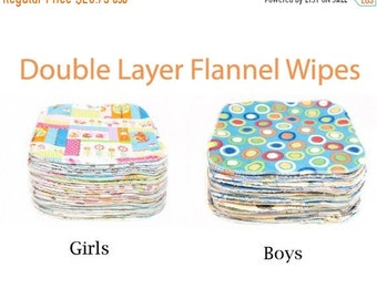 Spring Sale Sweet Bobbins Cloth Wipes Starter Set of 30 wipes -  Double Layer Flannel - 8x8