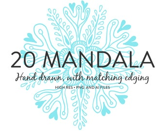 Mandala Illustrations - 20 Beautifully Hand Drawn Mandala each with matching edging  in PNG and Vector file formats