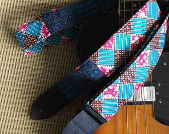 African wax print guitar strap // vibrant colours of blue, magenta and maroon squares, diamonds, chequerboard // unique cool musician gift