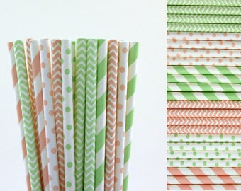 Pink and Mint Green Paper Straw Mix-Light Pink Straws-Mint Green Straws-Polka Dot Straws-Chevron Straws-Striped Straws-Party Straws