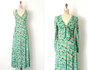 vintage 1970s dress / 70s maxi dress  / green print (small s)