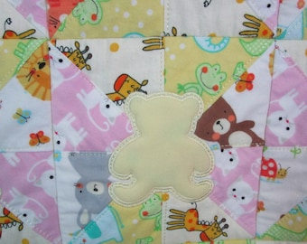 "Machine Embroidered Baby Quilt, Crib Quilt, Baby Quilt, Handmade Baby Quilt - Radial Teddys - approx 34"" x 41"""
