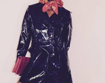 Cat woman trench coat | black rain coat | faux leather black coat | black trench | rain coat | spring jacket | FREE SHIPPING