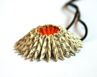 Book Page Origami Sunburst Necklace - Paper Necklace