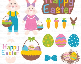 Easter bunnies vector - Digital Clipart - Instant Download - EPS, Pdf and PNG files included